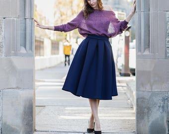 Knee length skirt | Navy blue neoprene skirt | Neoprene | Midi skirt | Circle skirt | Pleated skirt | Navy blue girly skirt |