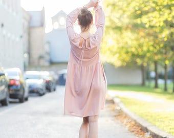 Pink dress | Long sleeve dress| Warm dress| Winter midi dress| Fall loose dress | Casual dress | Cotton dress women | Oversized dress|