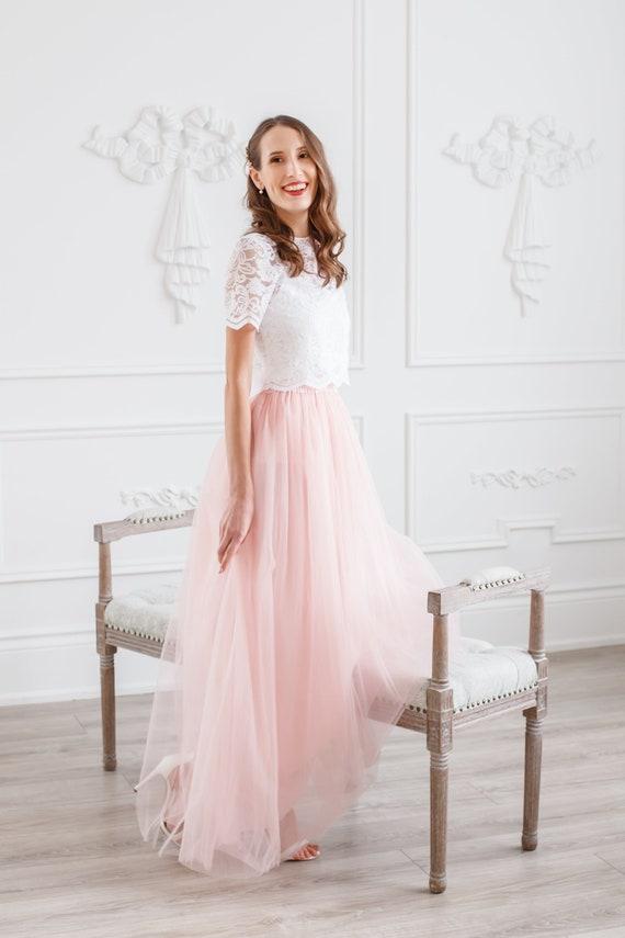 fcaaff9b02be Blush maxi tulle skirt Long tutu Tulle skirts Bridesmaid | Etsy