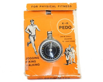 pedometer • vintage pedometer in original box • retro, analog • gift for runner • gift for coach • Father's Day gift • free gift wrapping