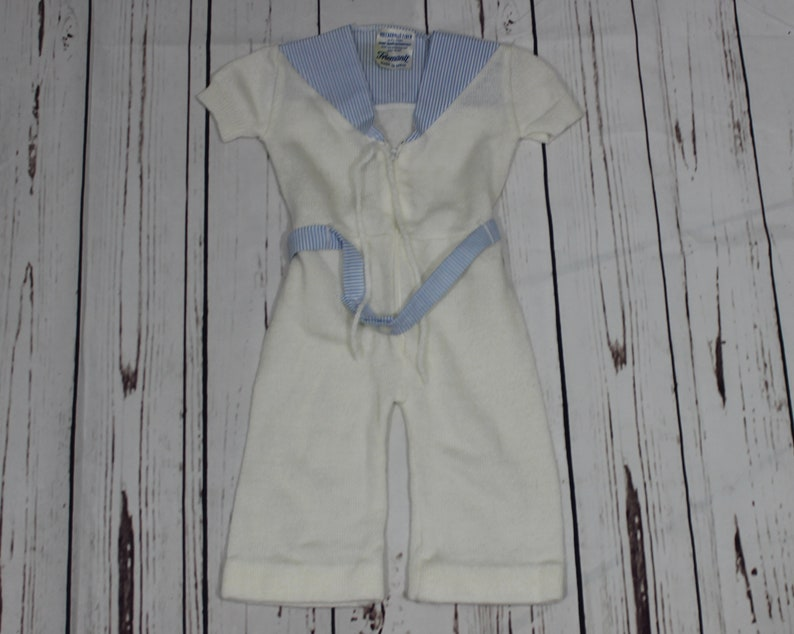 4df20a0cf2dd BABY ROMPER White Jumpsuit Sailor Collar Baby Knitwear