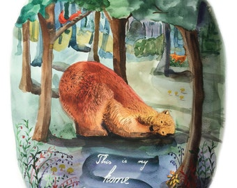 The bear and his home -  Art Print - Gift Idea