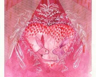 Pink heart - rabbit love - Art Print