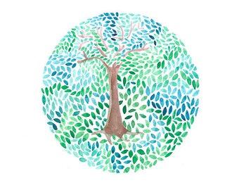 Tree of life illustration, Tree of life Wall Decor, Printable tree, Fine art tree Instant download, watercolor green tree