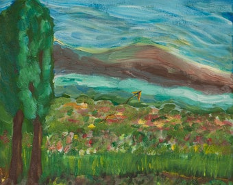 I have a paper kite original painting with acrylic on canvas Spring landscape