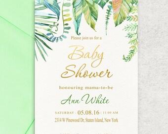 Tropical Leafs, Baby Shower Invitation, Leafs Baby Shower Invitation, Girl Baby Shower Invite, Boy Baby Shower Invite, Custom invitation