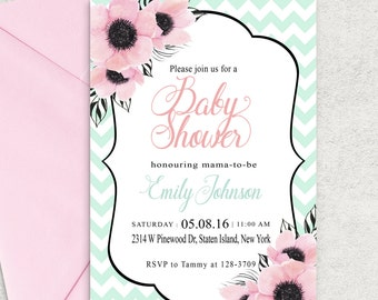 Mint Chevron Baby Shower Invitations, Pink and Mint Baby Shower Invitation, Printable Invitation, Girl Baby Shower Invite, Custom invitation