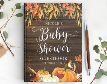 Autumn wedding Pumpkin Wreath Monogram book Guest Book Custom Guest Book Personalized keepsake Rustic wedding pumpkin guest book
