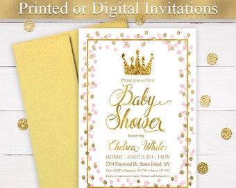 Princess baby shower invitations etsy princess baby shower invitation girl baby shower invitation pink and gold printed invitation crown baby shower invitation pri 23 filmwisefo