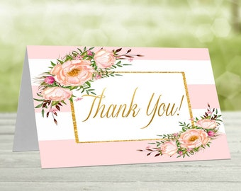 Thank you cards, Printable thank you, Pink & Gold baby shower, Baby shower thanks, Printable thanks, Printable card, Thanks card, Pink-3
