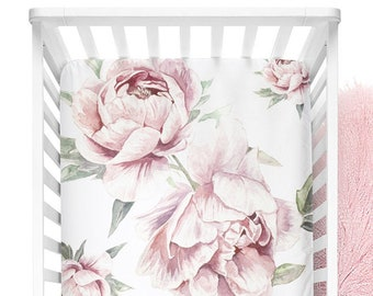 vintage pink peonies floral Pink Peony Blooms Fitted Crib Sheet fits standard crib mattress 28x52 digitally printed