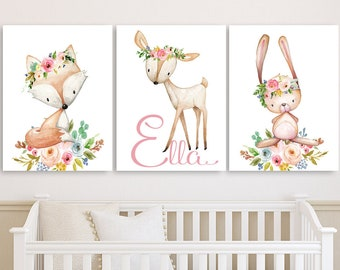 Floral Woodland Animals Nursery Decor For Girls, Baby Girl Nursery Decor,  Woodland Wall Art Canvases, Personalized Nursery Canvas, Set Of 3