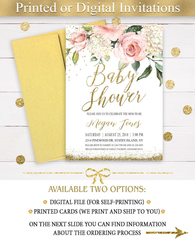 Pink Floral Baby Shower Invitation Girl, Green Leafs and Pink Roses, Garden  Pink Flowers Baby Shower Invitations, Pink and Gold