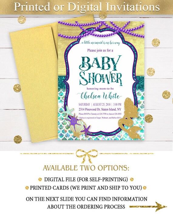 Mermaid Baby Shower Invitation, Under The Sea Baby Shower Invitation, Little Mermaid Baby Shower Turquoise, Gold, Purple, Printable Invite