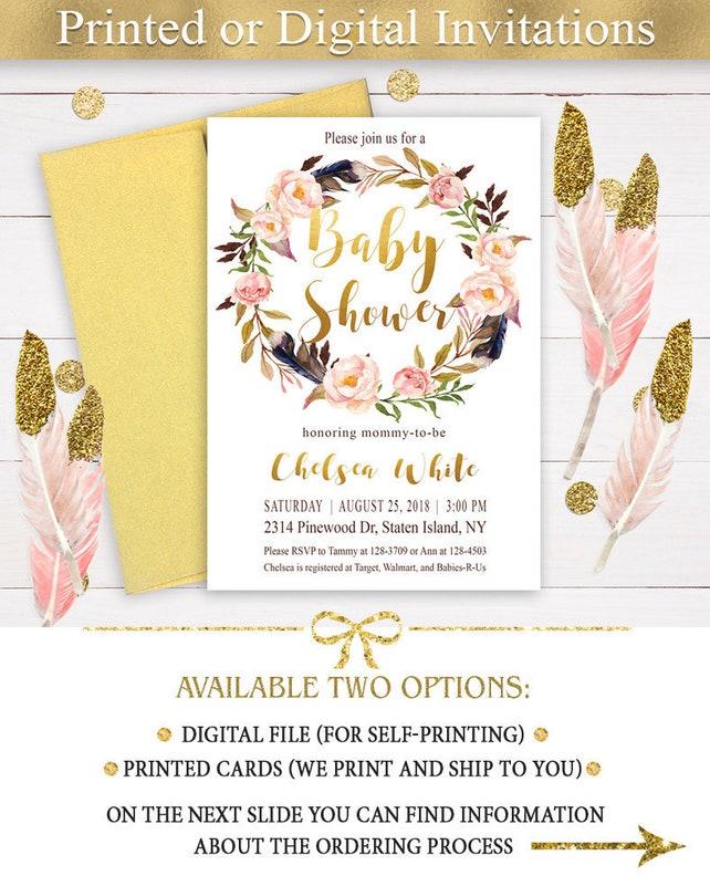 Boho Baby Shower Invitation Girl, Tribal Feather Baby Shower Invitation, Printed Invitation, Girl Baby Shower, Custom invitation, Bo-Ho