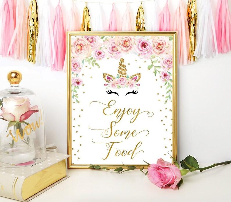 Unicorn Baby Shower Food Sign Enjoy Some Food Food Sign Etsy