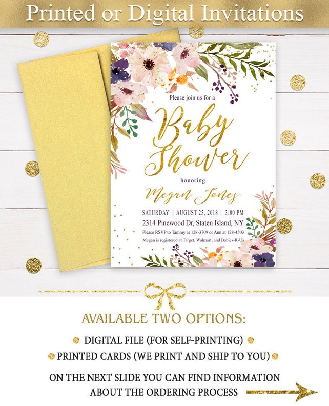 Blush Purple Gold Floral Baby Shower Invitations,  Blush and gold Baby Shower Invitations, Girl Baby Shower Printed Invitations