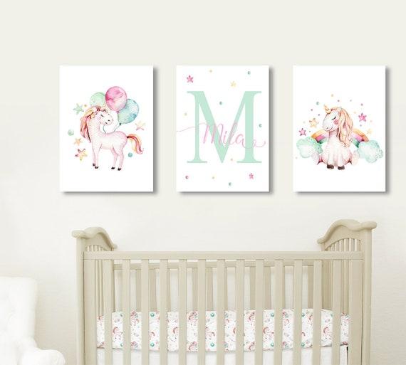 Unicorn Nursery Name Decor Unicorn Baby Girl Nursery | Etsy