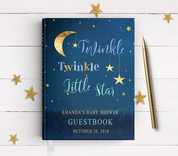 Twinkle Little Star Guest Book Poster Baby Shower Navy Blue Signature Guestbook Baptism Nursery Decor Silver And Gold Stars Guestbook