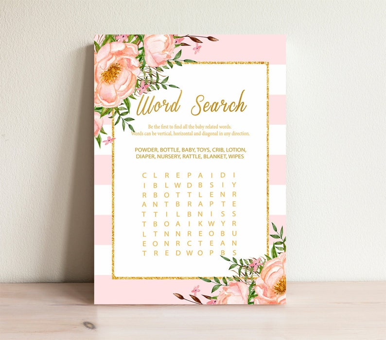 Word search game , Baby shower games, Gold & Pink, Baby word search, Baby  shower activities, Word search cards , Shower word search, Pink-3