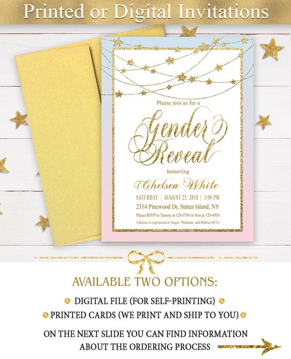 Twinkle Twinkle Little Star Gender Reveal invitation, Blue and  Pink  Gender Reveal Invitation, Boy or Girl Invitation,  Gold Glitter Invite