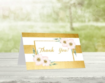 Gold baby shower, Thank you cards, Printable thank you, Baby shower thanks, Printable thanks, Printable card, Thanks card, Gold-001