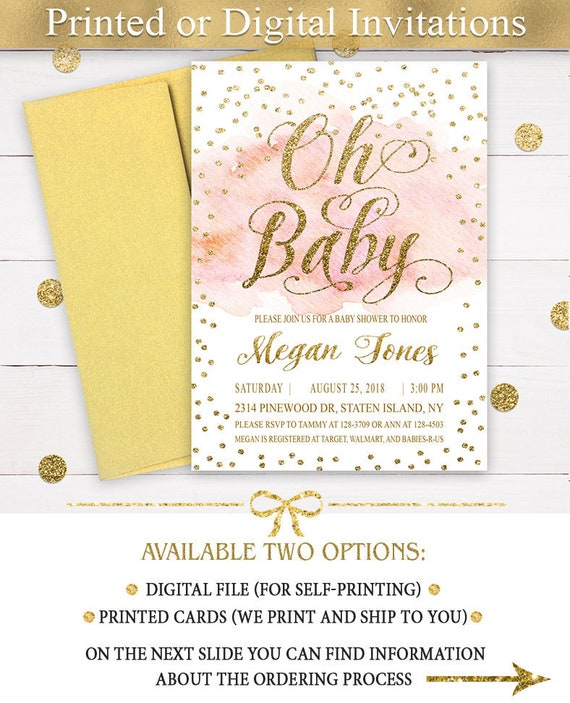 oh baby invitation girl blush and gold baby shower etsy