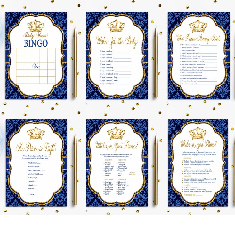 Guest book sign Cards and Gifts Dessert Bar Wishes for the baby Royal Prince Baby Shower Decorations Games Signs BIG Bundle