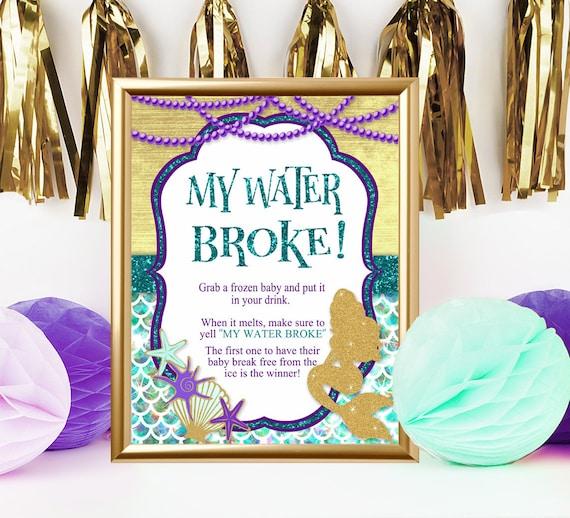 Mermaid Baby Shower My Water Broke Game Sign Under The Sea Etsy