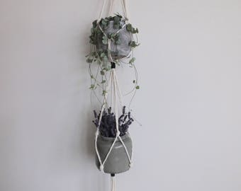 2 Tier Plant Hanger / Modern Macramé / Monochrome / Black and White / Minimal