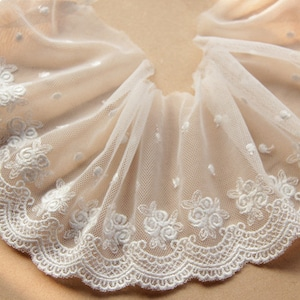 10 yard 2.8cm 1.57 wide ivory gauze mesh embroidery tapes lace trim ribbon E4F163X0429T