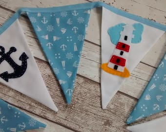 Nautical Bunting, Seaside Bunting, Beach Hut Bunting, bunting flags, nautical flags, Nautical Garland, Lighthouse Bunting, boats, anchor