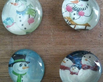 Snowman Magnets - Christmas Magnets - Sledding Magnets - Holiday Magnets