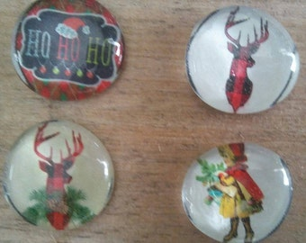 Christmas Magnets - Reindeer Magnets - Holiday Magnets -Plaid Magnets