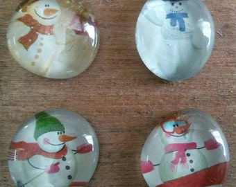 Snowman Magnets - Christmas Magnets - Holiday Magnets - Christmas Decorations