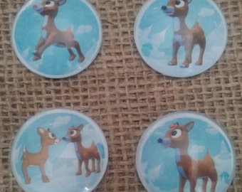 Rudolph the Red Nosed Reindeer Magnets  -Rudolph  & Clarice Magnets - Christmas Magnets - Holiday Magnets