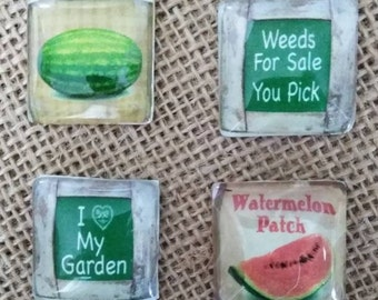 Weeds For Sale Magnets - Watermelon Patch Magnets - Gardening Magnets - Refrigerator Magnets -
