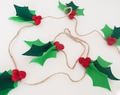 8 Foot Felt Holly Garland: Christmas Decor | Christmas Felt Photo Prop or Mantle Decoration | Felt Garland