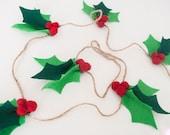 8 Foot Felt Holly Garland: Christmas Decor | Christmas Felt Photo Prop or Mantle Decoration | Felt Garland