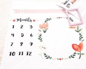 Girls Milestone blanket / Month Photography Prop / Counting Months / Animals milestone / floral / milestone / flower / girl blanket