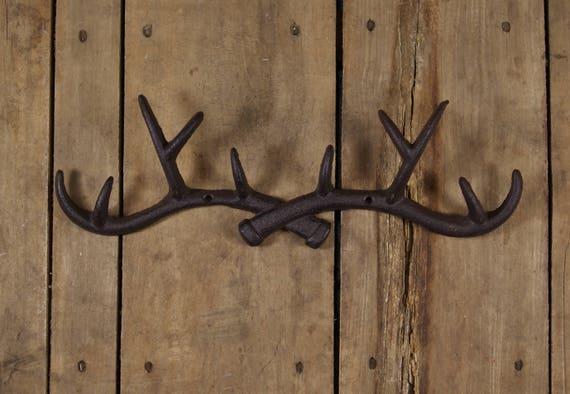 Cast Iron Deer with Antlers Short Hook Brown Towel Coat Rack Holder