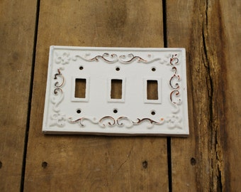 White Cast Iron Triple Light Switch Plate Cover
