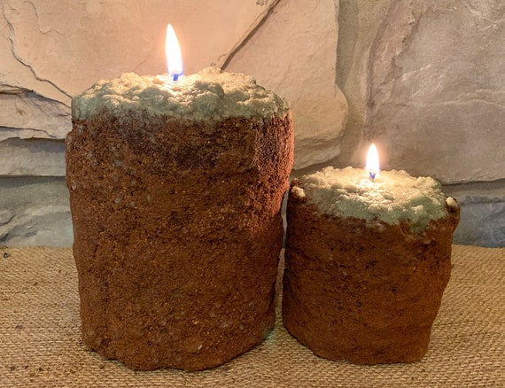 Primitive Country BLESS THIS HOME Pillar Timer Candle W//Hint Of Cinnamon NEW!!