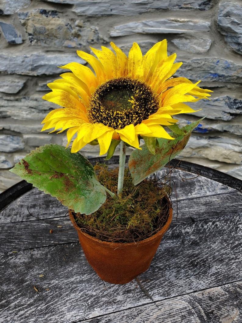 Primitive Sunflower Pots