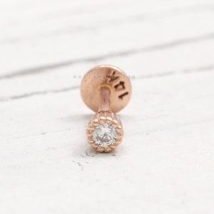 Conch Lobe Piercing Earring-18G or 16G 1pcs Tragus Cartilage 14K 18K Solid Gold 0.5ct London Blue Topaz Prongs Ear Stud Helix