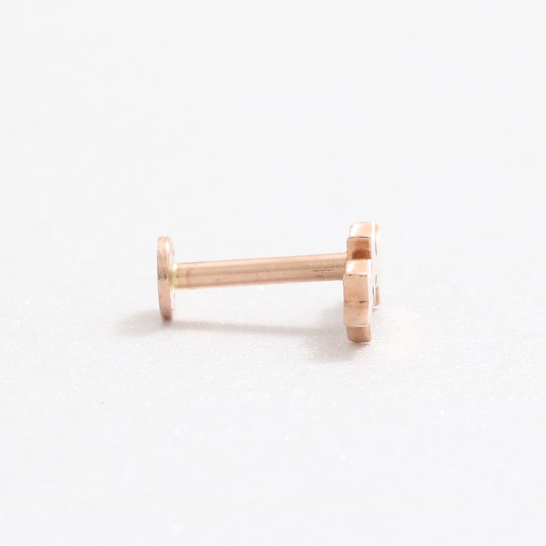 Helix 18g 1pcs Internally Threaded Labret Flat Back Piercing Earring-16g 14K Solid Gold Tiny Triple Star Cartilage Conch
