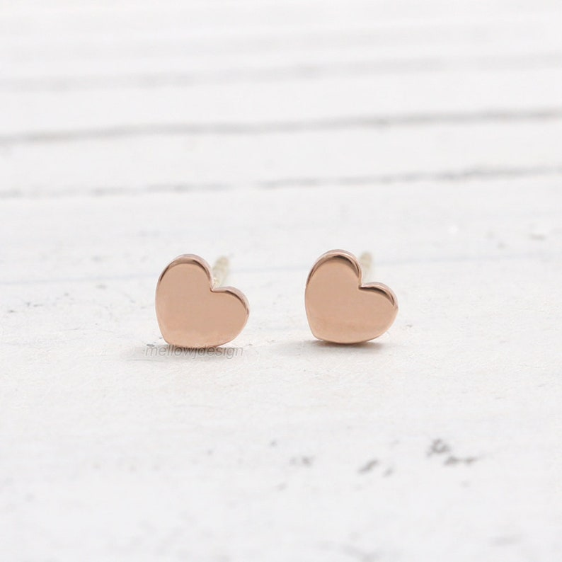69bc1db3f 14K Solid Gold Tiny Heart Stud Earrings   Etsy