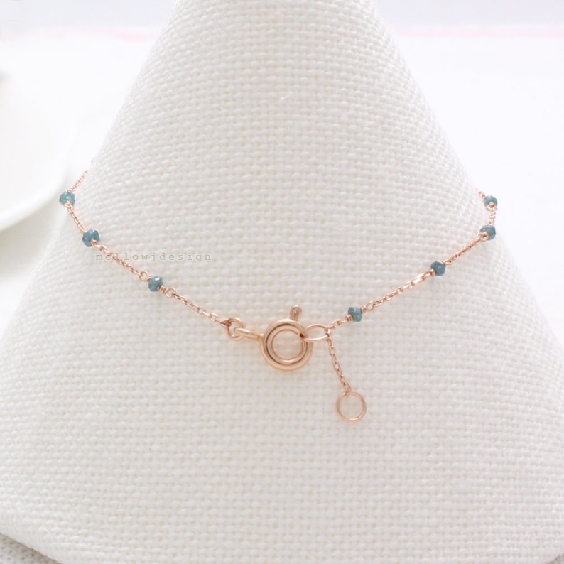 Genuine Natural Tiny Blue-Green Raw Diamonds Beaded Solid Gold Chain Bracelet