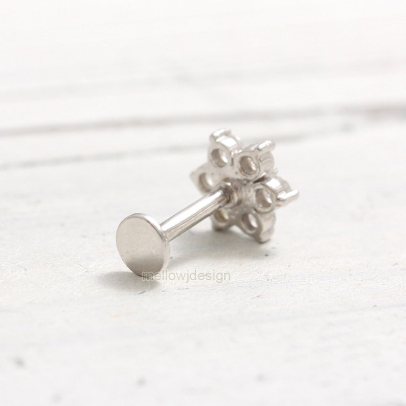 Helix Conch Genuine Milky Gray Diamonds and Blue Diamond Accent Flower Solid Gold Ear Cartilage Labret Piercing Earring-18g 1pcs