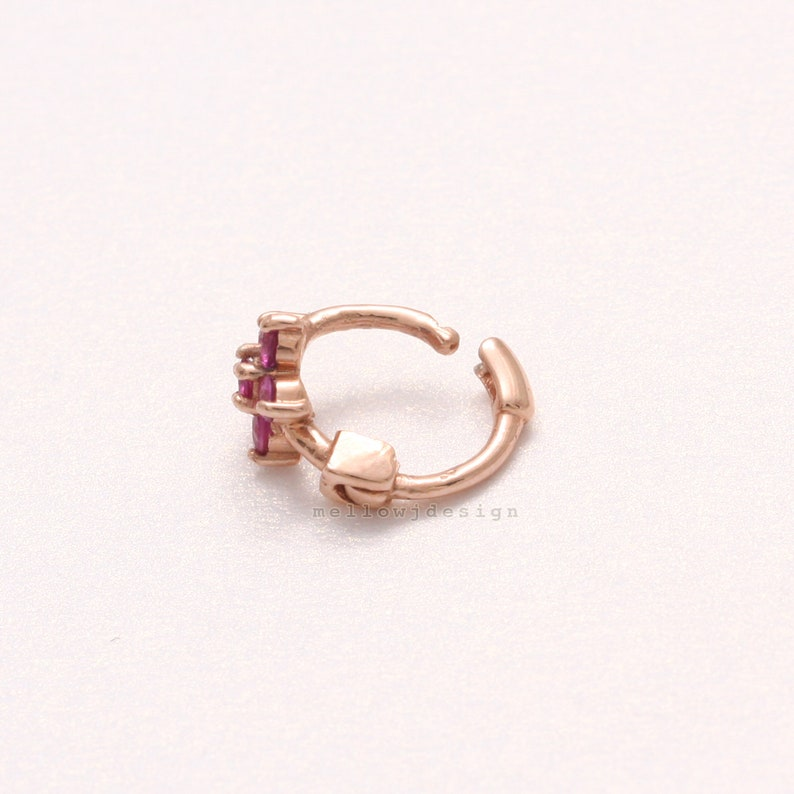 Cartilage Ear Piercing-20g 1pcs Tragus 14K 18K Solid Gold Natural Genuine Ruby Prong Setting Flower Tiny Hoop Helix